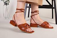 Шлепанцы-босоножки женские кожаные карамельного цвета с каблуком 3.5 см