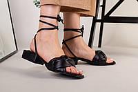 Шлепанцы-босоножки женские кожаные черные с обтянутым каблуком 3.5 см