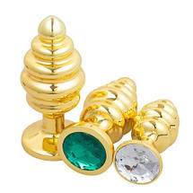 Анальная пробка золотая спираль ёлочка с камнем  Flexy Gold Crystal Plug L 95x40 mm, фото 3
