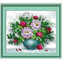 """Вышивка крестиком """"Яркие цветы"""" 2 60х52см H158"""
