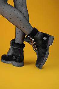 Женские ботинки Тimberlad x Off-White Black (Термо)