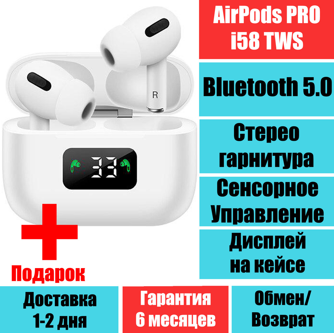 Наушники Аирподс Про i58 TWS APRO3 LCD Sensor Bluetooth 5.0 Стерео гарнитура