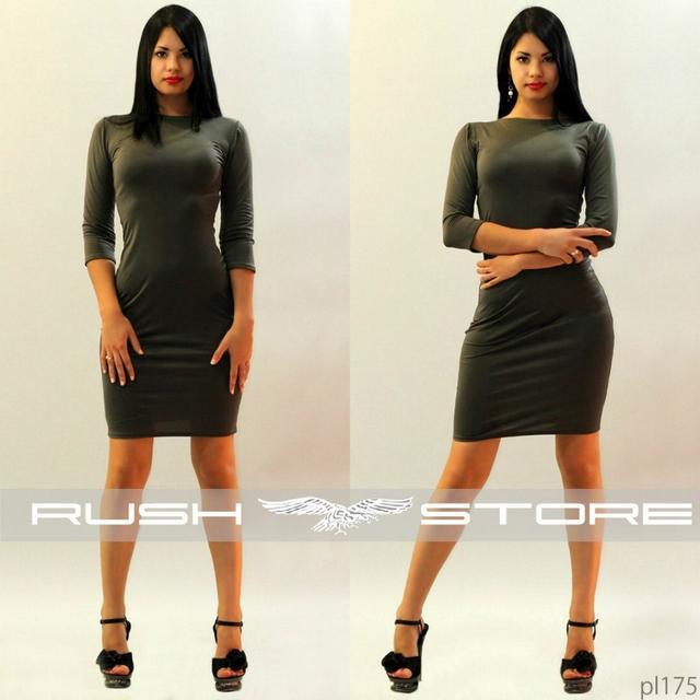 обтягивающее платье цвет хаки рукав три четверти