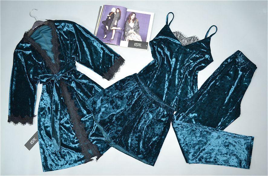 Комплект женской домашней одежды Este изумрудный. Велюровый Халат и пижама тройка .