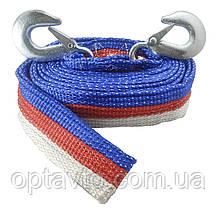 Буксировочный трос с крюками 6 метров 5 тонн в сумке чехле.