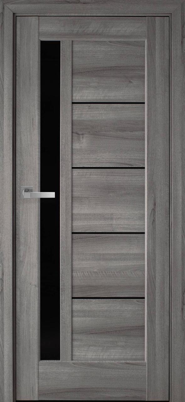 """Дверь межкомнатная """"Новый Стиль"""" модель Грета, бук пепельный (с черным стеклом)"""