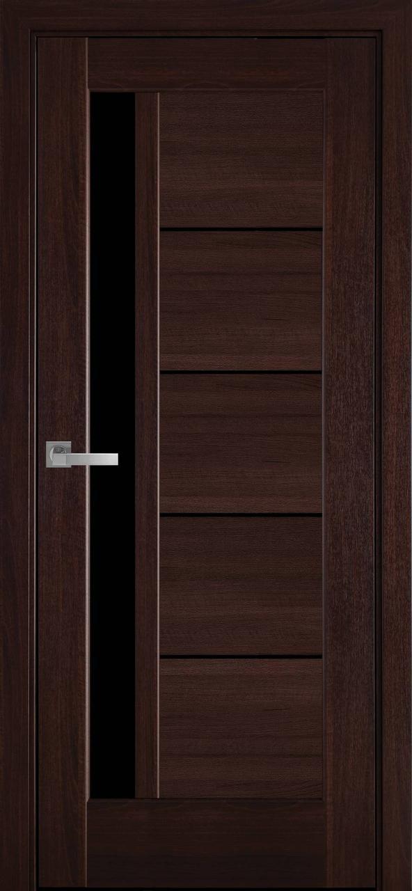 """Дверь межкомнатная """"Новый Стиль"""" модель Грета, каштан (с черным стеклом)"""