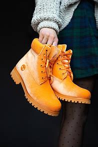 Женские ботинки Тimberlad x Off-White Orange (Термо)