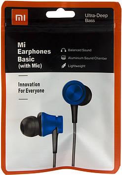 Навушники вакуумні Xiaomi MI-4 (гарнітура+мікрофон) blue в кульку