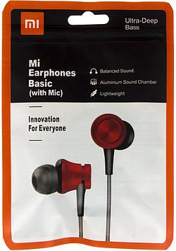 Навушники вакуумні Xiaomi MI-4 (гарнітура+мікрофон) red в кульку