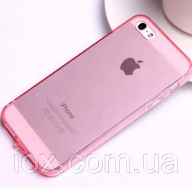 Розовый силиконовый чехол на iphone 5/5s с заглушками