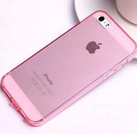 Розовый силиконовый чехол на iphone 5/5s с заглушками , фото 1