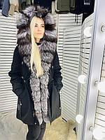 Парка пихора женская с мехом чернобурки черная 19-8801