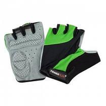 Велорукавички PowerPlay 5041 A Чорно-зелені S SKL24-144542, фото 2