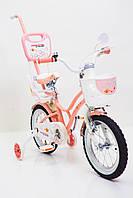 Детский велосипед премиум класс с корзинкой и багажником BEEHIVE(Пчелки) 14 дюймов персиковый от 4 лет
