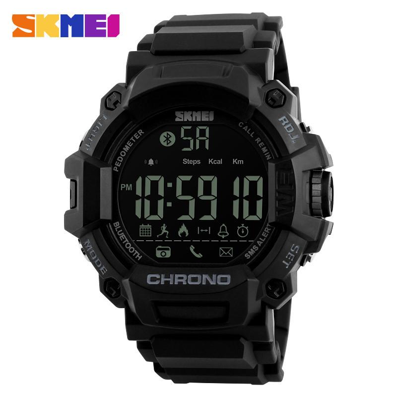 Skmei 1249 чорні чоловічі спортивні смарт годинник