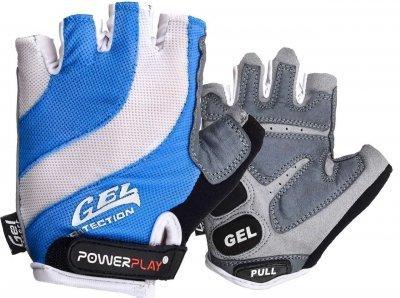 Велорукавички PowerPlay 5034 Біло-блакитні L SKL24-144579