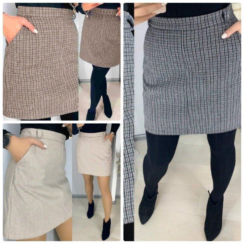 Стильная женская юбка мини теплая в мелкую клетку и карманами по бокам 3 цвета
