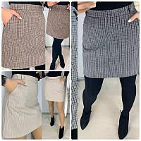 Стильная женская юбка мини теплая в мелкую клетку и карманами по бокам 3 цвета, фото 1