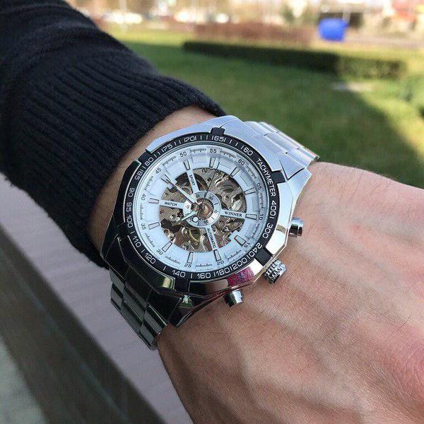 Мужские механические металлические часы Winner Skeleton, чоловічий механічний годинник, стальные часы