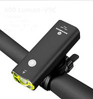 Передняя велосипедная LED фара фонарь ROCKBROS V9C-400 с 4 режимами света и водонепроницаемая (black)