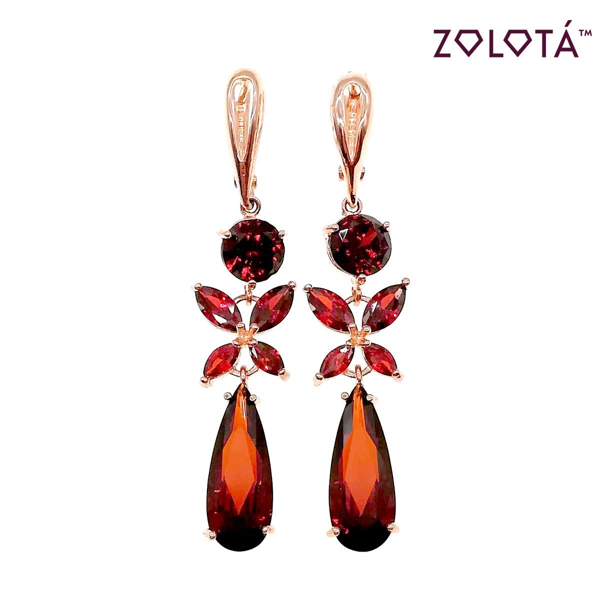 Серьги Zolota с темно-красными фианитами (куб. цирконием), из медицинского золота, в позолоте, ЗЛ00429 (1)