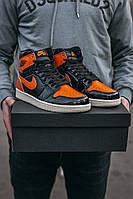 Кроссовки женские Nike Air Jordan 1 Retro Black Orange, Найк Джордан, лаковая кожа, прошиты. Код IN-707