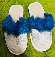 Домашні жіночі шкіряні капці з овечої шерсті, Сніжинка синє хутро