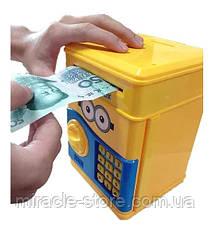 Дитяча електронна скарбничка сейф з кодовим замком і купюропріємником, фото 3