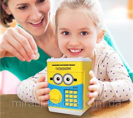 Дитяча електронна скарбничка сейф з кодовим замком і купюропріємником, фото 2