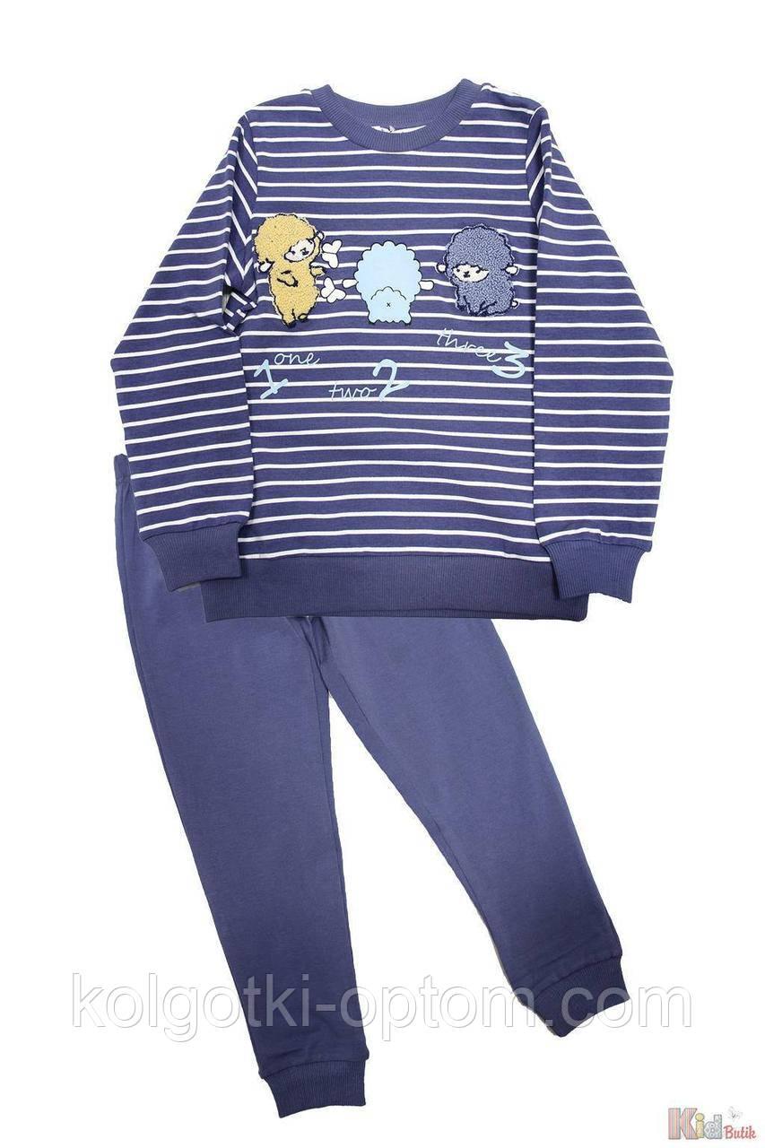 ОПТОМ Пижама штаны и кофта синяя с овечками (104 см.)  Pikidor 8681021254584
