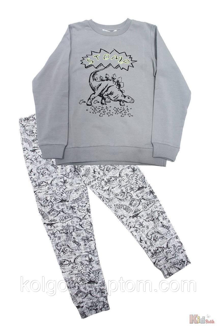 """ОПТОМ Упаковка (104-110-116-122-128-134)  Пижама штаны и кофта серая с динозавром """"Stomp"""" Pikidor"""