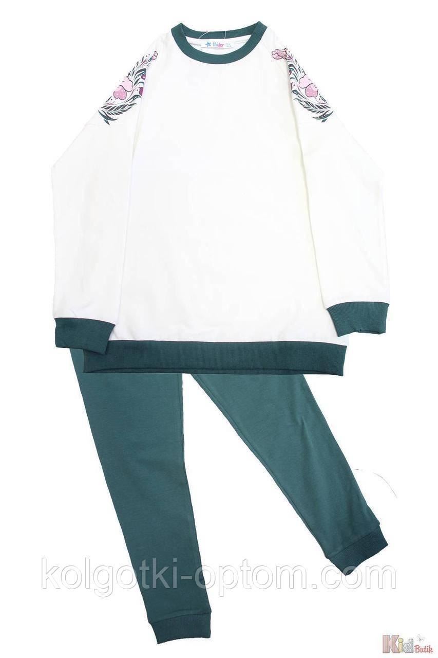 "ОПТОМ Упаковка (140-152-158)  Пижама штаны зеленые и кофта ""Flowers"" Pikidor 1111000002143"