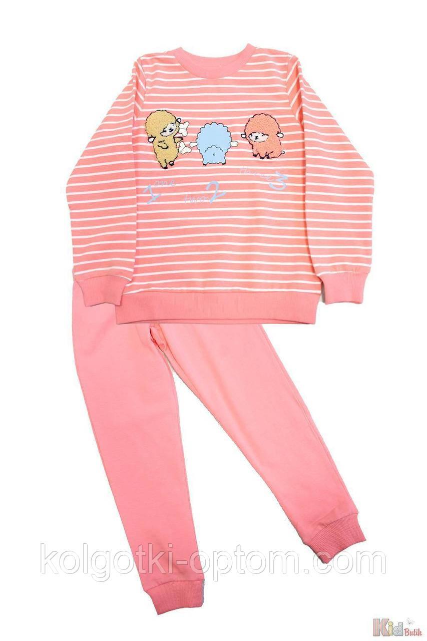 ОПТОМ Пижама штаны и кофта коралловая с овечками (104 см.)  Pikidor 8681021254669