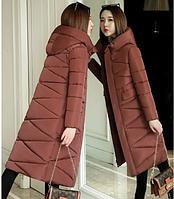 Женское стеганое зимнее пальто пуховик с капюшоном р.44-46