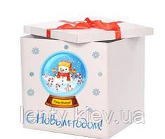 Новорічна Коробка-сюрприз велика 70х70см (Сніговик у сніговій банку)+наклейка+декор+індивідуальна напис