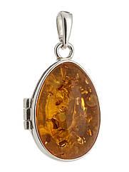 Підвіска-медальйон з бурштином срібна