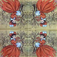 "Салфетка декупажная 33x33см 28 ""Новогодняя дама"" (товар при заказе от 200 грн)"