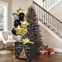 Новорічна Коробка-сюрприз велика з кулями 70х70см (чорно-золотий)+наклейка+декор+напис