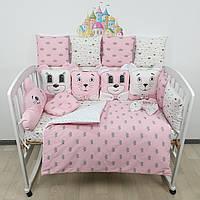Комплект бортиков и постельного в кроватку с игрушками и облаком в розовых тонах с золотыми сердечками, фото 1