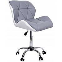Офисное кресло операторское для персонала из качественной экокожи, кресло для офиса компьютерное бело серое