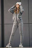 Комплект утеплённый серый зиппер + штаны DNK MAFIA