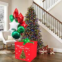 Новорічна Коробка-сюрпризс велика Гелієвими кулями 70х70см (Червона з ялинкою)+наклейка+декор+напис