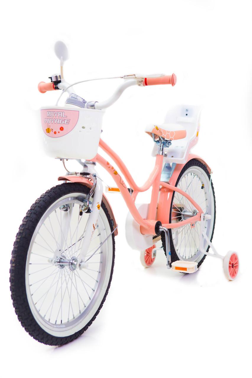 Детский велосипед премиум класс с корзинкой и багажником   BEEHIVE(Пчелки) 20 дюймов персиковый от 7 лет