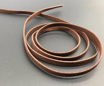 Шнур замша плоский коричневый (3 мм) - 120 см. Замшевий шнурок коричневий