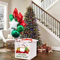 Новорічна Коробка-сюрприз велика з Гелієвими кулями 70х70см (Дід Мороз)+наклейка+декор+ напис