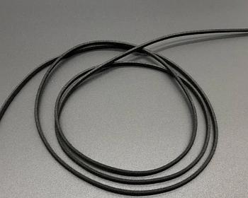 Шнур замша плоский черный (3 мм) - 120 см Замшевий шнурок чорний