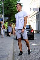 Летний мужской комплект - белая футболка и серые шорты