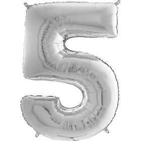 """Кулька """"5"""" 26"""" цифра фольгована під гелій, срібна, 66см, ТМ """"Грабо"""" УП шт."""