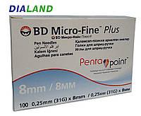 Голки МІКРО ФАЙН ПЛЮС (MICRO-FINE+) Penta Point для шприц-ручок 0,25(31G)*8мм, фото 1